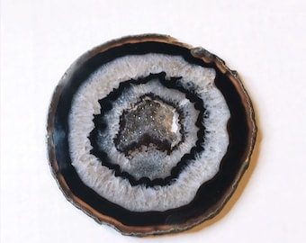 Natural Agate Slice with Acrylic Stand for Display // Premium stone with druzy center