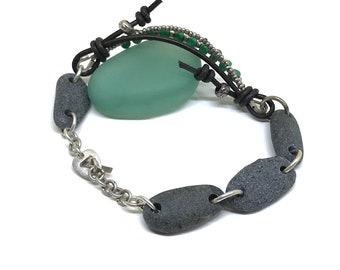 Natural Turquoise & Beach Pebble Bracelet