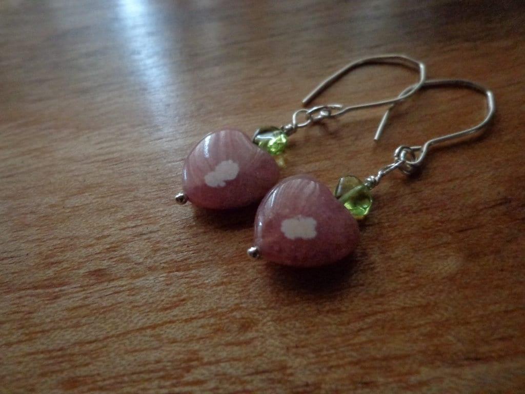 Pink rhodochrosite chain earrings long gemstone earrings
