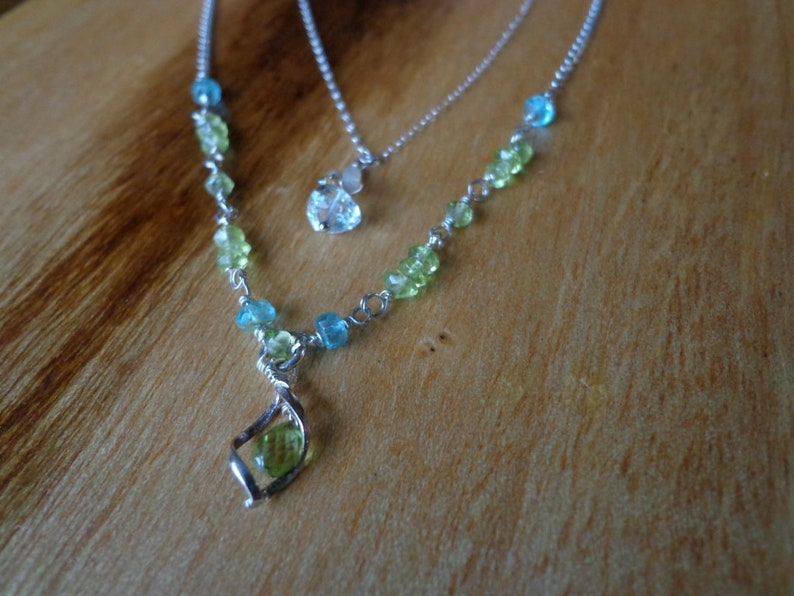 personalised jewellery Minimalist necklace  green amethyst and silverSterling silver and parasolite trillion tunduru sapphires necklace