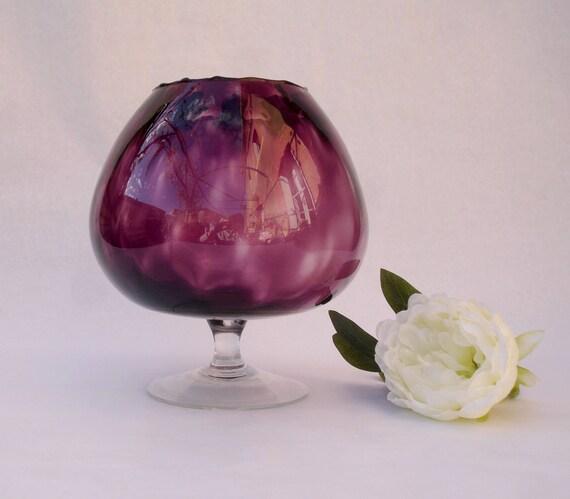 Large Vintage Dimpled Glass Goblet Vase Glass Brandy Goblet Etsy