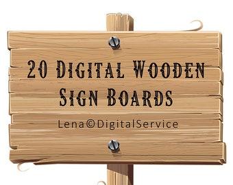 20 Digital Wooden Sign Boards INSTANT DOWNLOAD printable Digital Scrapbooking Wood Clip art signboards arrows collage