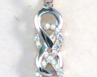 Double Infinity Pendant/Necklace Sterling Silver and Dazzling Cubic Ziconias