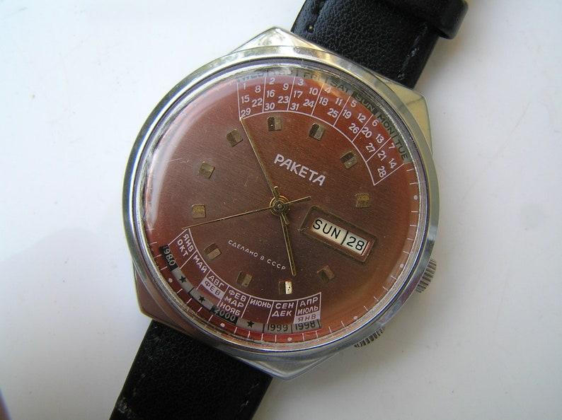 Calendario Perpetuo Orologio.Vintage Orologio Russo Raketa 2628 H Calendario Perpetuo