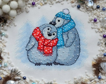 It's Not Cold Together - Little Cute Penguins - Cross Stitch Pattern PDF