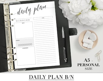 Printable DAILY PLAN insert for your Personal and A5 Planner_Black-White_Day planner Printable_Daily Filofax planner_Daily Organizer