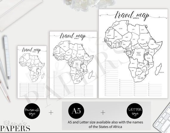 Printable TRAVEL AFRICA MAP insert for your Personal, A5 and Letter on connect map, line map, find map, read map, map with inset map, search map, create map, move map, change map, legend on a map, view map, make your own wedding map, data map, inner map, esc map, open map, locate map, add map, locator map,