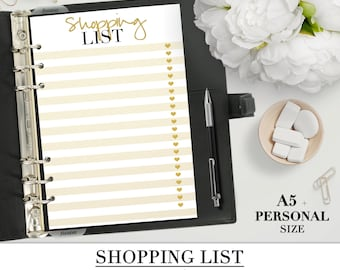 Printable SHOPPING LIST inserts for your Personal and A5 planner+ Franklin Covey planner_to buy_shopping list_gold style