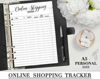 Printable ONLINE SHOPPING TRACKER insert for your Personal and A5 planner_Black & White_Shopping list_Filofax pdf_website orders