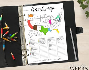 Printable TRAVEL USA MAP insert for your Pocket, Personal, A5, Letter, Happy planner_Trip to go_Vacation_Tracker city America_Coloring Pdf