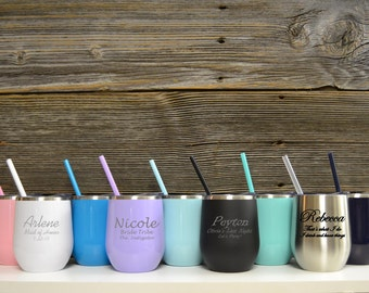 Stainless Steel Wine Glasses / Stemless Color / Personalized Maid of Honor Gifts / Wedding Toast / Wine Glasses / Gift Maid of Honor
