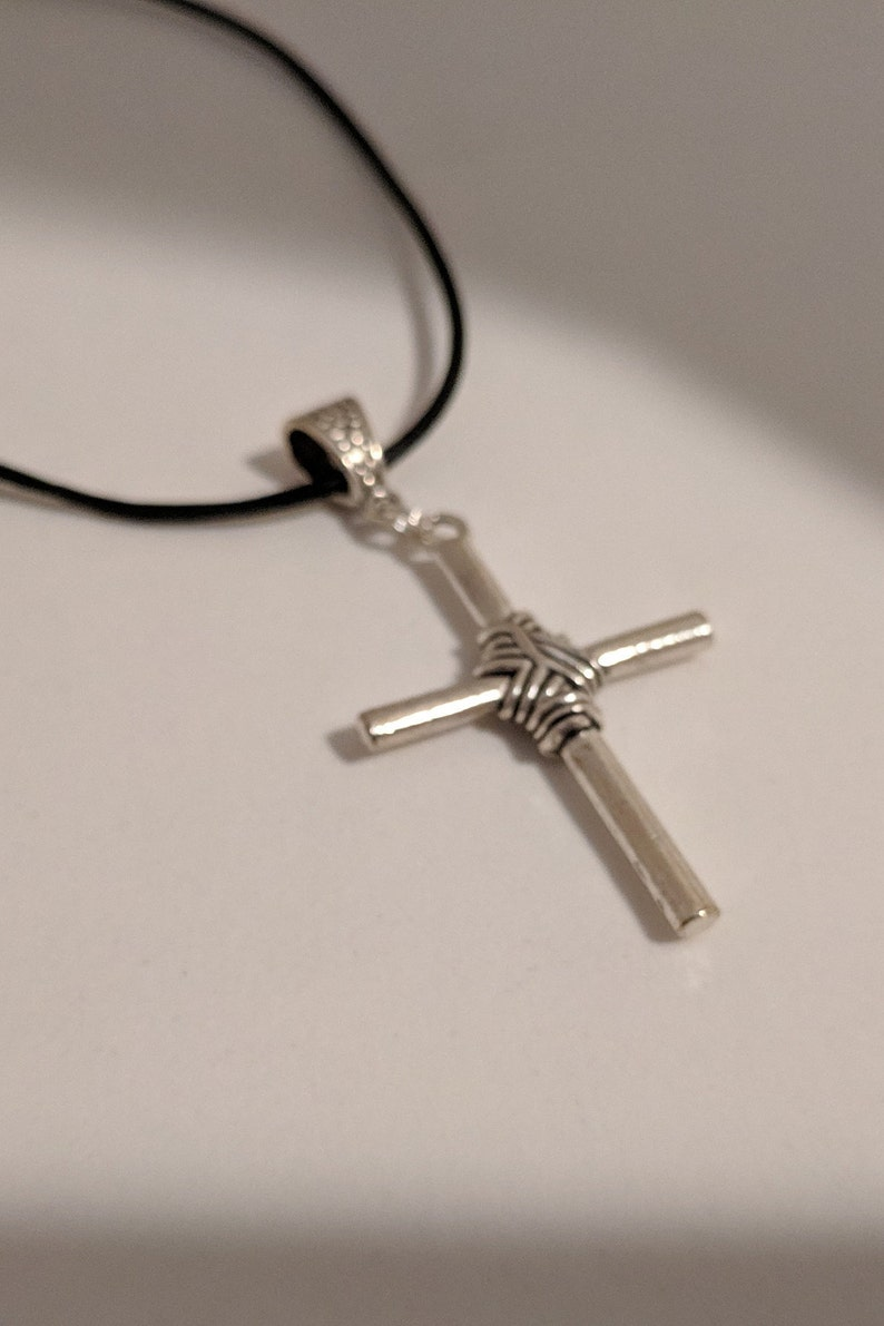 Twine Antique Silver Cross on a Black Leather Cord with Adjustable  extender, Christian Necklace, Religious Gifts, Marriage Promise,Gods Knot