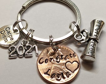 Graduation Gift, Custom Gift for Graduation, Graduate Gift, Personalized Lucky Penny Key chain, Carpe Diem, Lucky Penny, Penny Keychain