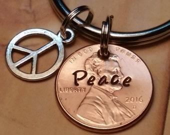 Peace Sign Lucky Penny Key Chain/Peace/Keychain gift/Key Chain Gift/Lucky Penny/Peace Penny/US Penny/Hand Stamped Penny Gift/Peace Sign