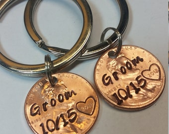 Groom and Groom Wedding Day Lucky Penny Keychain Set, Wedding Gift for Gay Couple, Gifts for Gay Couple, Keepsake,Custom Wedding LGBTQ,LGBTQ