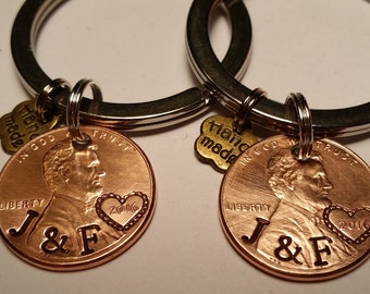 Matching keychains, Customized penny, 1st anniversary, couples gift, anniversary gift, boyfriend gift, penny keychain