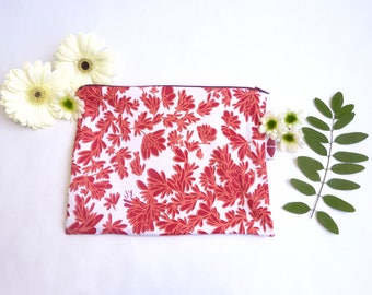 Medium coral and Red pouch, hand screen printed design.