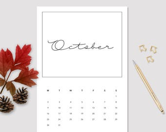 2017 October Calendar - Monthly Calendar - Printable October Calendar - Minimalistic Calendar - October Calendar - 2017 Wall Calendar