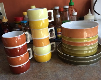Block Chromatics, plates, mugs, and bowl. Made in Germany