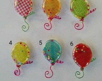 Shaker Balloon Magnets - 6 Multicolor Shaker Balloon Magnets