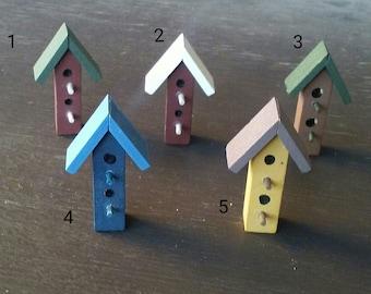 Brightly Colored Minature Bird House - Fairy Garden Bird House
