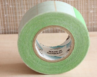 Deadstock Cloth or Gloss Book Binding Repair Tape, Color Craft Tape, One Green and One Orange, Craft Supply, Scrapbooking,