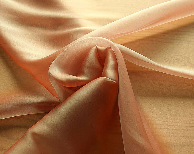 232050-organdy Cangiante Natural Silk 100%, 135 cm wide, made in Italy, dry cleaning, weight 55 gr, price 1 meter: 55.24 Euros