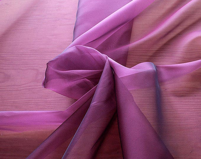 232220-organdy Cangiante Natural Silk 100%, 135 cm wide, made in Italy, dry cleaning, weight 55 gr, price 1 meter: 55.24 Euros