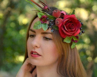 Red Pomegranate crown Wedding flower crown Boho bridal hair wreath flower Red Floral crown Woodland halo wedding red crown adult