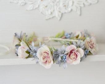 Serenity flower crown Cream roses hair wreath Wedding floral headband Pastel bridal crown blue Flower Girl Provence wedding crown Roses halo