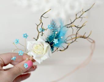 Blue feather crown rustic head wreath branches head piece fairy woodland crown bridal forest hair accessory blue headband Boho