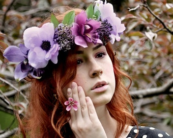 Boho wedding wreath Bridal Flower crown Orchid flower hair Wedding Purple floral headband Anemone floral crown Woodland wedding head wreath