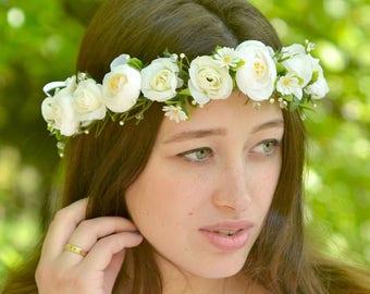 Spring wedding flower crown white floral head wreath white green floral crown pearl bridal halo wedding crown roses hair