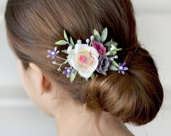 Flower hair clips etsy white purple flower hair clip rose head piece clip bridal floral accessory bridesmaids hair clips wedding mightylinksfo Image collections