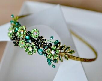 Emerald crown Green flower headband Emerald tiara Holiday crown green crystal head piece Emerald flower tiara Christmas gift ready ship