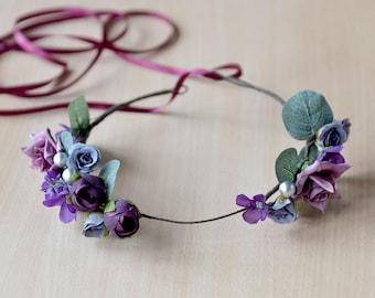 Purple flower crown Floral head wreath Bridal purple rose Headband Wedding purple hair wreath Flowers eucalyptus crown Prom