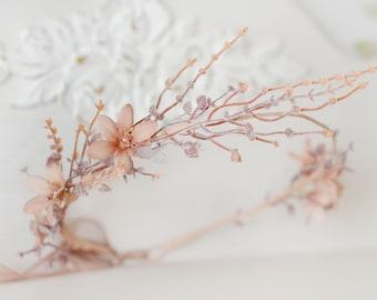 Rustic crown bridal Beige floral crown branches head piece elven wedding crown Flowers halo rustic headband peach flowers Elven crown
