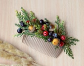 Fall wedding comb Christmas hair comb berries Fairy forest wedding back hair piece Berries woodland head piece acorn comb Bridal comb