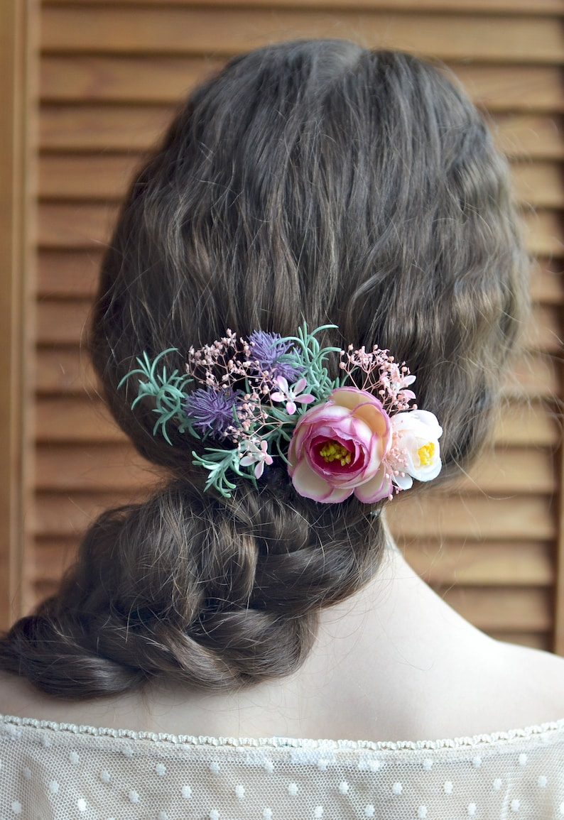 b0c8c9bfb90a Peach pink flower comb Exotic flowers hair Bridal hair piece | Etsy