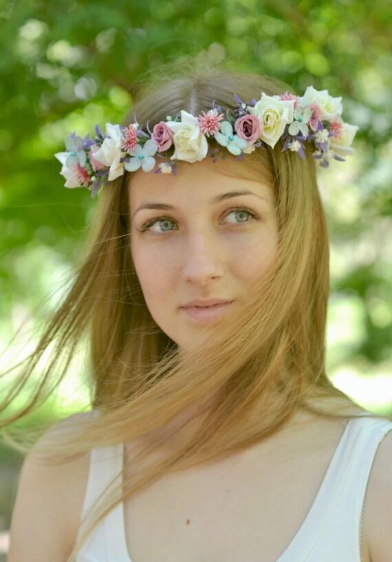 Braut Blumen Haar Accessoire Boho Blume Krone Hochzeit Blume Etsy