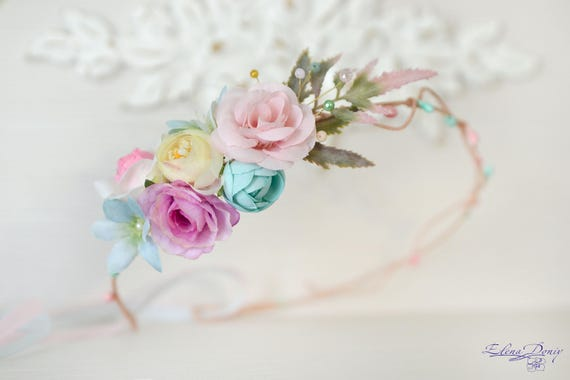 Pastel Flower crown Cream lilac head piece Floral bridal crown  f5f6f2723f4
