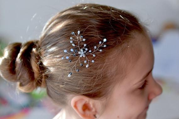 Grau Blau Kristall Haar Stift Gelassenheit Haarrebe Kristalle Kopfstück Blau Hochzeit Haar Pin Grau Haarteil Braut