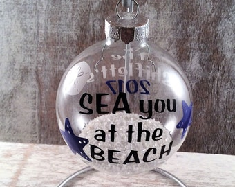 SEA you at the BEACH ornament, christmas ornament, glass ornament, beach christmas ornament, beach christmas,