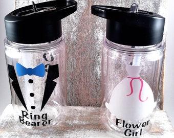 Flower girl gift, ring bearer gift, water bottle, acrylic cup, ring bearer gift, flower girl gift, gift, water bottle, kids water bottle