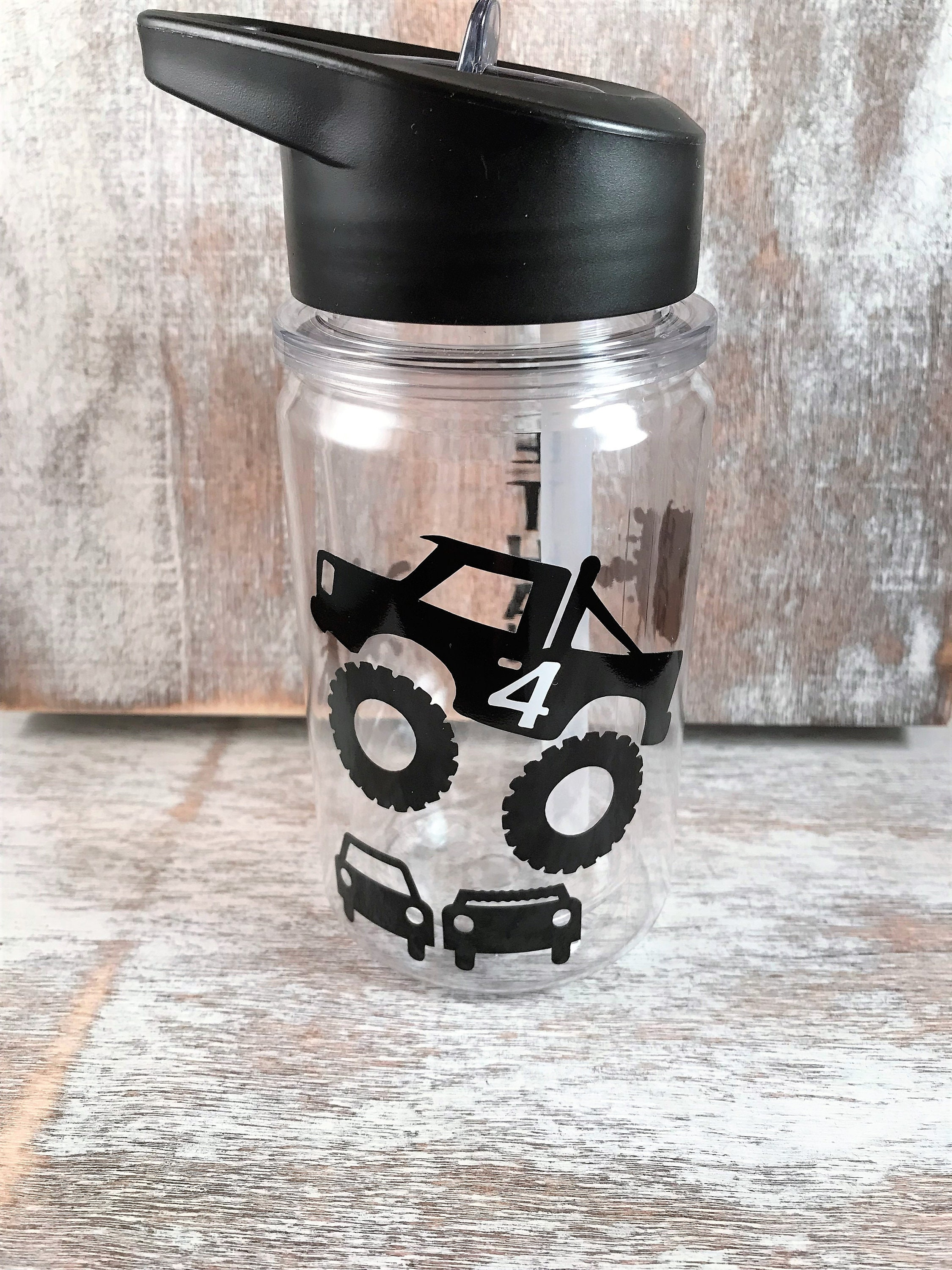 Personalized Monster Truck Gift Kids Water Bottle Monster Etsy