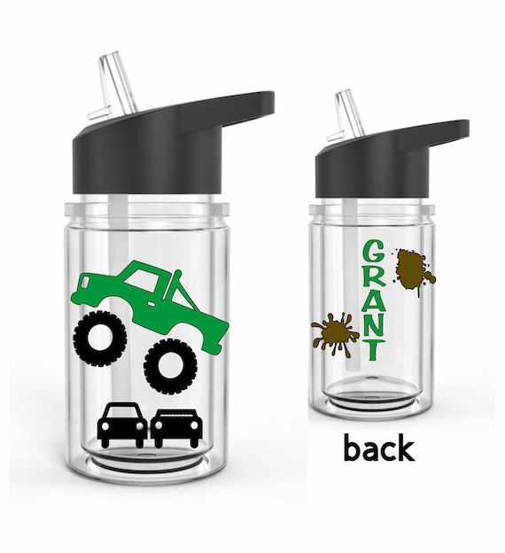 Personalized Monster Truck Gift Kids Water Bottle Kids Cup Etsy