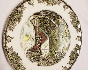 "Brown Tones /""The Friendly Village/"" Dinner Plate Johnson Bros Mint"