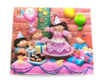 Vintage Cabbage Patch Kids Jigsaw Puzzle 24 Big Pieces Complete Birthday CPK Dolls Milton Bradley 1984 80s Original Toy Collectables 1980s