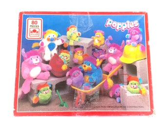 Vintage Popples Jigsaw Puzzle Construction Crew 100% Complete Golden Whitman Canadian French English Bilingual 1980s Original Retro Toys