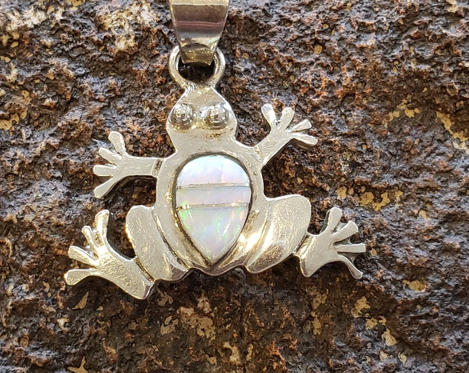 Sterling Silver and Opal frog Pendant